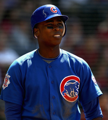 PHOENIX, AZ - MAY 01:  Alfonso Soriano #12 of the Chicago Cubs warms up on deck during the Major League Baseball game against the Arizona Diamondbacks at Chase Field on May 1, 2011 in Phoenix, Arizona.  The Diamondbacks defeated the Cubs 4-3.  (Photo by C