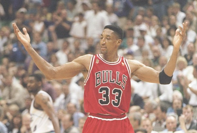 11 Jun 1997:  Guard Scottie Pippen of the Chicago Bulls stands on the court during a playoff game against the Utah Jazz at the Delta Center in Salt Lake City, Utah.  The Bulls won the game 90-88. Mandatory Credit: Brian Bahr  /Allsport