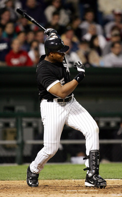 CHICAGO - JUNE 17:  Frank Thomas #35 of the Chicago White Sox hits a two-run home run, his fifth home run of the season, in the seventh inning against the Los Angeles Dodgers on June 17, 2005 at U.S. Cellular Field in Chicago, Illinois. The White Sox defe