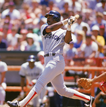 ANAHEIM, CA - JULY:  Jim Rice #14 of the Boston Red Sox bats against the California Angels during a July 1986 game at Anaheim Stadium in Anaheim, California.   (Photo by Getty Images)