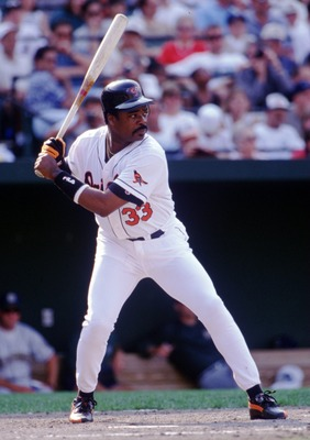 14 Aug 1996:  Batter Eddie Murray of the Baltimore Orioles awaits the pitch during a 8-5 win over the Milwaukee Brewers at Camden Yards in Baltimore, Maryland. Mandatory Credit: Doug Pensinger/ALLSPORT