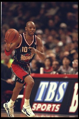 3 Jan 1996:  Sam Cassell of the Houston Rockets runs with the ball against the Chicago Bulls during a game played at the United Center in Chicago, Illinois.  The Bulls won the game, 100-86. Mandatory Credit: Jonathan Daniel/Allsport