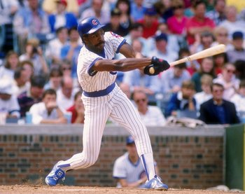 Jul 1988:  Outfielder Andre Dawson of the Chicago Cubs swings at the ball during a game at Wrigley Field in Chicago, Illinois. Mandatory Credit: Jonathan Daniel  /Allsport