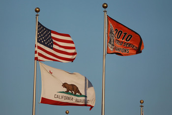 SAN FRANCISCO, CA - APRIL 09:  The San Francisco Giants World Series flag flies before their game against the St. Louis Cardinals at AT&T Park on April 9, 2011 in San Francisco, California.  (Photo by Jed Jacobsohn/Getty Images)