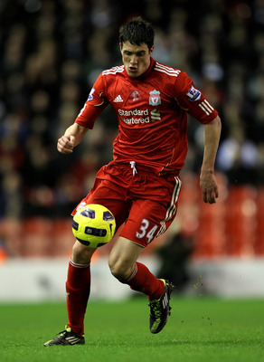 LIVERPOOL, ENGLAND - JANUARY 26:  Martin Kelly of Liverpool in action during the Barclays Premier League match between Liverpool and Fulham at Anfield on January 26, 2011 in Liverpool, England. (Photo by Alex Livesey/Getty Images)
