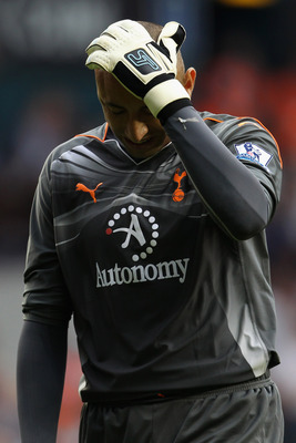 LONDON, UNITED KINGDOM - MAY 07:  Heurelho Gomes of Spurs reacts during the Barclays Premier League match between Tottenham Hotspur and Blackpool at White Hart Lane on May 7, 2011 in London, England.  (Photo by Scott Heavey/Getty Images)