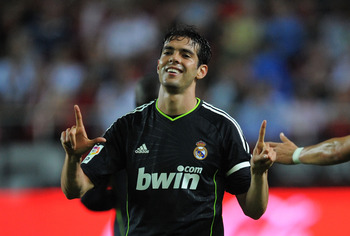 SEVILLE, SPAIN - MAY 07:  Kaka of Real Madrid celebrates after he scored Real's third goal during the La Liga match betweenevilla and Real Madrid at Estadio Ramon Sanchez Pizjuan on May 7, 2011 in Seville, Spain.  (Photo by Denis Doyle/Getty Images)