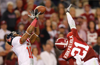 TUSCALOOSA, AL - OCTOBER 16:  Markeith Summers #16 of the Ole Miss Rebels fails to pull in this reception against Dre Kirkpatrick #21 of the Alabama Crimson Tide at Bryant-Denny Stadium on October 16, 2010 in Tuscaloosa, Alabama.  (Photo by Kevin C. Cox/G