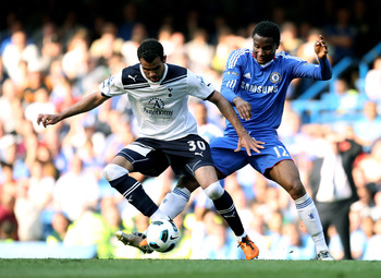 LONDON, ENGLAND - APRIL 30:  Sandro of Spurs and John Obi Mikel of Chelsea compete for the ball during the Barclays Premier League match between Chelsea and Tottenham Hotspur at Stamford Bridge on April 30, 2011 in London, England.  (Photo by Scott Heavey