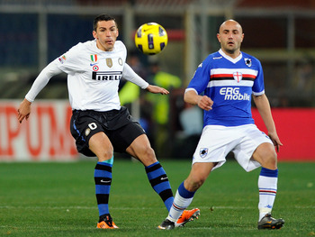 GENOA, ITALY - FEBRUARY 27:  Lucio of FC Inter Milan and Massimo Maccarone of UC Sampdoria compete for the ball during the Serie A match between UC Sampdoria and FC Internazionale Milano at Stadio Luigi Ferraris on February 27, 2011 in Genoa, Italy.  (Pho
