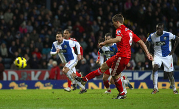 BLACKBURN, ENGLAND - JANUARY 05: Steven Gerrard of Liverpool fires his penalty over the cross bar during the Barclays Premier League match between Blackburn Rovers and Liverpool at Ewood park on January 5, 2011 in Blackburn, England.  (Photo by Clive Brun
