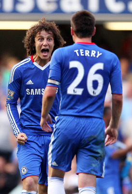 LONDON, ENGLAND - APRIL 30:  David Luiz (L) and John Terry of Chelsea celebrate following their team's 2-1 victory during the Barclays Premier League match between Chelsea and Tottenham Hotspur at Stamford Bridge on April 30, 2011 in London, England.  (Ph