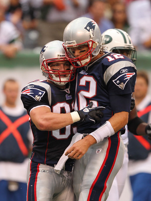 EAST RUTHERFORD, NJ - SEPTEMBER 19:  Wes Welker #83  celebrates with Tom Brady #12 of the New England Patriots against  the New York Jets during their  game on September 19, 2010 at the New Meadowlands Stadium  in East Rutherford, New Jersey.  (Photo by A