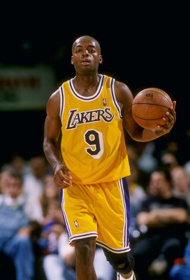 24 Oct 1997:  Nick Van Exel of the Los Angeles Lakers in action during the Lakers 93-89 win over the Atlanta Hawks at the Great Western Forum in Inglewood, California.   Mandatory Credit: Otto Greule Jr.  /Allsport