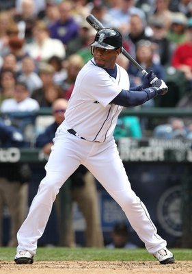 SEATTLE - MAY 23:  Ken Griffey Jr. #24 of the Seattle Mariners bats against the San Diego Padres at Safeco Field on May 23, 2010 in Seattle, Washington. (Photo by Otto Greule Jr/Getty Images)