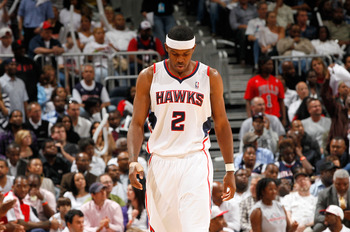 ATLANTA, GA - MAY 06:  Joe Johnson #2 of the Atlanta Hawks walks down the court after turning the ball over to the Chicago Bulls in Game Three of the Eastern Conference Semifinals in the 2011 NBA Playoffs at Phillips Arena on May 6, 2011 in Atlanta, Georg