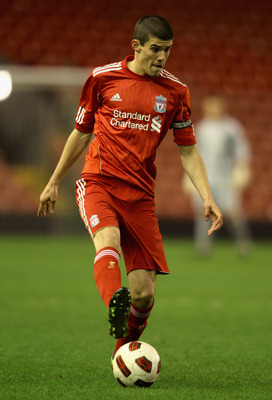LIVERPOOL, ENGLAND - FEBRUARY 14: Conor Coady of Liverpool in action during the FA Youth Cup match between Liverpool and Southend United at Anfield on February 14, 2011 in Liverpool, England.  (Photo by Clive Brunskill/Getty Images)