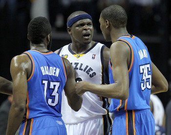 MEMPHIS, TN - MAY 07:  Zach Randolph #50 of the Memphis Grizzlies has a few words with James Harden #13 and Kevin Durant #35 of the Oklahoma City Thunder in Game Three of the Western Conference Semifinals in the 2011 NBA Playoffs at FedExForum on May 7, 2