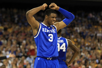 HOUSTON, TX - APRIL 02:  Terrence Jones #3 of the Kentucky Wildcats reacts after a play against the Connecticut Huskies during the National Semifinal game of the 2011 NCAA Division I Men's Basketball Championship at Reliant Stadium on April 2, 2011 in Hou