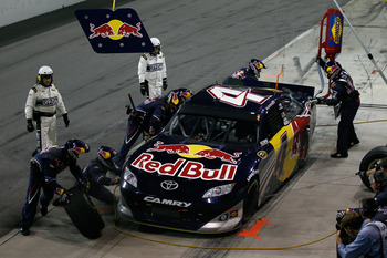 DARLINGTON, SC - MAY 07:  Kasey Kahne pits the #4 Red Bull Toyota during the NASCAR Sprint Cup Series SHOWTIME Southern 500 at Darlington Raceway on May 7, 2011 in Darlington, South Carolina.  (Photo by Chris Graythen/Getty Images)
