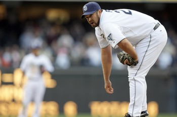 SAN DIEGO, CA - APRIL 5:  Closer Heath Bell #21 of the San Diego Padres looks on from the mound in the 9th inning against the San Francisco Giants during their MLB Game at Petco Park on April 5, 2011 in San Diego, California. Bell got the save with the Pa