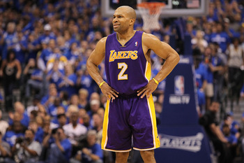 DALLAS, TX - MAY 06:  Guard Derek Fisher #2 of the Los Angeles Lakers reacts against the Dallas Mavericks in Game Three of the Western Conference Semifinals during the 2011 NBA Playoffs on May 6, 2011 at American Airlines Center in Dallas, Texas.  NOTE TO
