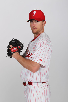 CLEARWATER, FL - FEBRUARY 22:  Brad Lidge #54 of the Philadelphia Phillies poses for a photo during Spring Training Media Photo Day at Bright House Networks Field on February 22, 2011 in Clearwater, Florida.  (Photo by Nick Laham/Getty Images)