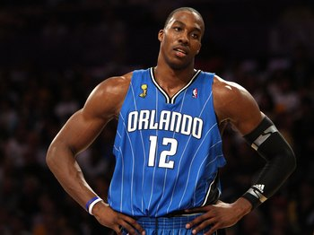LOS ANGELES, CA - JUNE 07:  Dwight Howard #12 of the Orlando Magic looks on against the Los Angeles Lakers during Game Two of the 2009 NBA Finals at Staples Center on June 7, 2009 in Los Angeles, California. NOTE TO USER: User expressly acknowledges and a