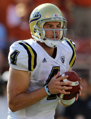 AUSTIN, TX - SEPTEMBER 25:  Quarterback Kevin Prince #4 of the UCLA Bruins at Darrell K Royal-Texas Memorial Stadium on September 25, 2010 in Austin, Texas.  (Photo by Ronald Martinez/Getty Images)