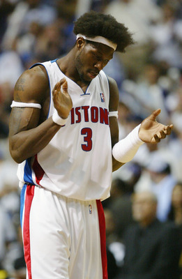 AUBURN HILLS, MI - JUNE 13:  Ben Wallace #3 of the Detroit Pistons celebrates after defeating the Los Angeles Lakers 88-80 in Game Four of the 2004 NBA Finals on June 13, 2004 at The Palace of Auburn Hills in Auburn Hills, Michigan.  NOTE TO USER: User ex