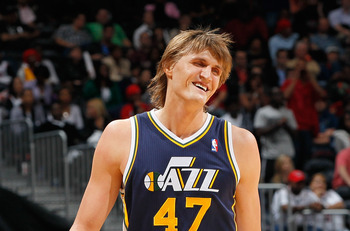 ATLANTA - NOVEMBER 12:  Andrei Kirilenko #47 of the Utah Jazz against the Atlanta Hawks at Philips Arena on November 12, 2010 in Atlanta, Georgia.  NOTE TO USER: User expressly acknowledges and agrees that, by downloading and/or using this Photograph, Use