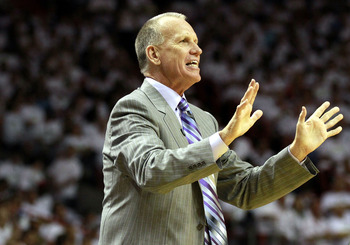 MIAMI, FL - APRIL 16:  Heach Coach Doug Collins of the Philadelphia 76ers shouts at his team while playing the Miami Heat at the American Airlines Arena in game one of the Eastern Conference Quarterfinals in the 2011 NBA Playoffs on April 16, 2011 in Miam