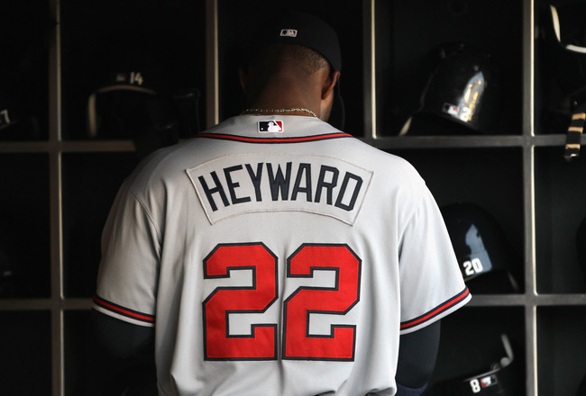 SAN FRANCISCO, CA - APRIL 22:  Jason Heyward #22 of the Atlanta Braves stands in the dugout before their game against the San Francisco Giants at AT&T Park on April 22, 2011 in San Francisco, California.  (Photo by Ezra Shaw/Getty Images)