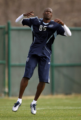 KANSAS CITY, MO - MARCH 23:  Chad Ochocinco reacts during his tryout with Sporting Kansas City on March 23, 2011 in Kansas City, Missouri.  (Photo by Jamie Squire/Getty Images)