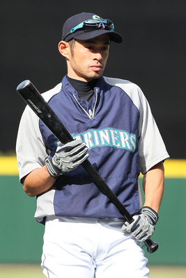 SEATTLE - MAY 04:  Ichiro Suzuki #51 of the Seattle Mariners looks on during batting practice prior to the game against the Texas Rangers at Safeco Field on May 4, 2011 in Seattle, Washington. (Photo by Otto Greule Jr/Getty Images)