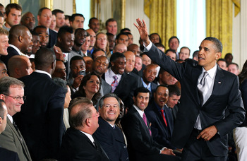 President Obama greets the New Orleans Saints