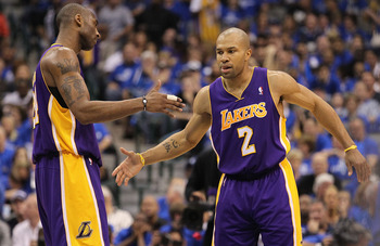 DALLAS, TX - MAY 06:  Guard Kobe Bryant #24 and Derek Fisher #2 of the Los Angeles Lakers react against the Dallas Mavericks in Game Three of the Western Conference Semifinals during the 2011 NBA Playoffs on May 6, 2011 at American Airlines Center in Dall