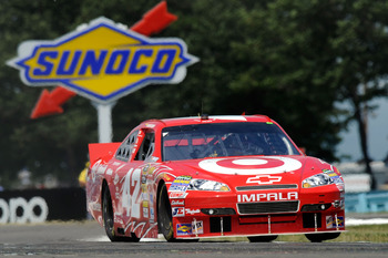 WATKINS GLEN, NY - AUGUST 08:  Juan Pablo Montoya, drives the #42 Target Chevrolet, during the NASCAR Sprint Cup Series Heluva Good! Sour Cream Dips at Watkins Glen International on August 8, 2010 in Watkins Glen, New York.  (Photo by John Harrelson/Getty