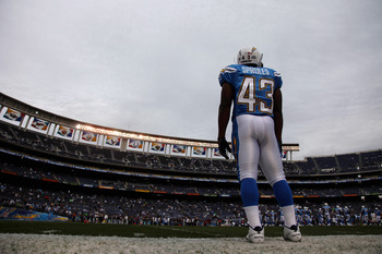 SAN DIEGO, CA - DECEMBER 5:  Darren Sproles #43 of the San Diego Chargers looks on from the field against the Oakland Raiders during their NFL game at Qualcomm Stadium on December 5, 2010 in San Diego, California. (Photo by Donald Miralle/Getty Images)