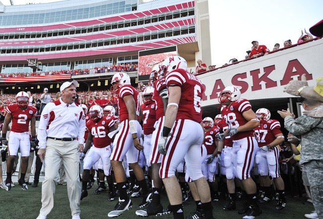 LINCOLN, NE - SEPTEMBER 04:  Head Coach Bo Pelini pumps up his Nebraska Cornhuskers before their season opener against the Western Kentucky Hilltoppers at Memorial Stadium on September 4, 2010 in Lincoln, Nebraska. Nebraska defeated Western Kentucky 49-10
