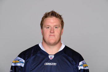 SAN DIEGO, CA - CIRCA 2010: In this handout image provided by the NFL, Jeromey Clary of the San Diego Chargers poses for his 2010 NFL headshot circa 2010 in San Diego, California. (Photo by NFL via Getty Images)