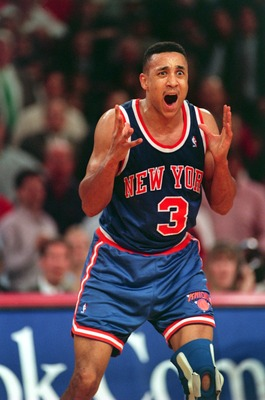 13 May 1994:  An animated John Starks of the New York Knicks vents his frustration during the Knicks 104-102 defeat by the Chicago Bulls in the second round of the 1994 NBA Playoffs.  Mandatory Credit: Jonathan Daniel/Allsport