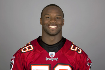 TAMPA BAY, FL - CIRCA 2010:   In this handout image provided by the NFL, Quincy Black of the Tampa Bay Buccaneers NFL football team is seen posing for a portrait taken in 2010 in Tampa Bay, Florida. This image reflects the Tampa Bay Buccaneers active rost