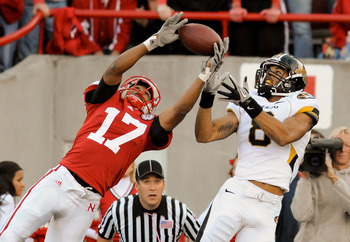 LINCOLN, NE - OCTOBER 30: Defensive back Ciante Evans #17 of the Nebraska Cornhuskers breaks up a intended for wide receiver Wes Kemp #8 of the Missouri Tigers during second half action of their game at Memorial Stadium on October 30, 2010 in Lincoln, Neb
