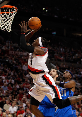 PORTLAND, OR - APRIL 23:  Gerald Wallace #3 of the Portland Trail Blazers lays up the ball against the Dallas Mavericks in Game Four of the Western Conference Quarterfinals in the 2011 NBA Playoffs on April 23, 2011 at the Rose Garden in Portland, Oregon.