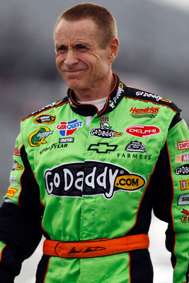 DARLINGTON, SC - MAY 06:  Mark Martin, driver of the #5 Carquest/GoDaddy.com Chevrolet, stands on pit road during qualifying for the NASCAR Sprint Cup Series SHOWTIME Southern 500 at Darlington Raceway on May 6, 2011 in Darlington, South Carolina.  (Photo
