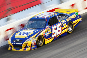 DARLINGTON, SC - MAY 07:  Martin Truex Jr., driver of the #56 NAPA Auto Parts Toyota, races during the NASCAR Sprint Cup Series SHOWTIME Southern 500 at Darlington Raceway on May 7, 2011 in Darlington, South Carolina.  (Photo by Geoff Burke/Getty Images f