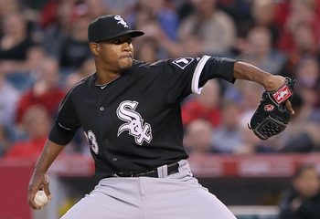 ANAHEIM, CA - MAY 09:  Edwin Jackson #33 of the Chicago White Sox pitches against the Los Angeles Angels of Anaheim in the second inning at Angel Stadium of Anaheim on May 9, 2011 in Anaheim, California.  (Photo by Jeff Gross/Getty Images)
