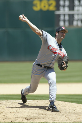 OAKLAND, CA - JULY 31:  Pitcher Charles Nagy #41 of the Cleveland Indians throws a pitch during the MLB game against the Oakland Athletics on July 31, 2002 at the Network Associates Coliseum in Oakland, California.  The Athletics won 6-4.  (Photo by Jed J