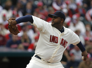 CLEVELAND - MARCH 31:  Pitcher C.C. Sabathia #52 of the Cleveland Indians pitches during the first inning of their Opening Day game against the Chicago White Sox on March 31, 2008 at Progressive Field in Cleveland, Ohio.  (Photo by Matt Sullivan/Getty Ima